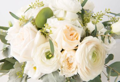 Toledo Florist - White flower bouquet with greenery.