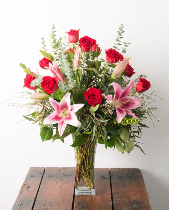 Ultimate Dozen Red Roses with Lilies