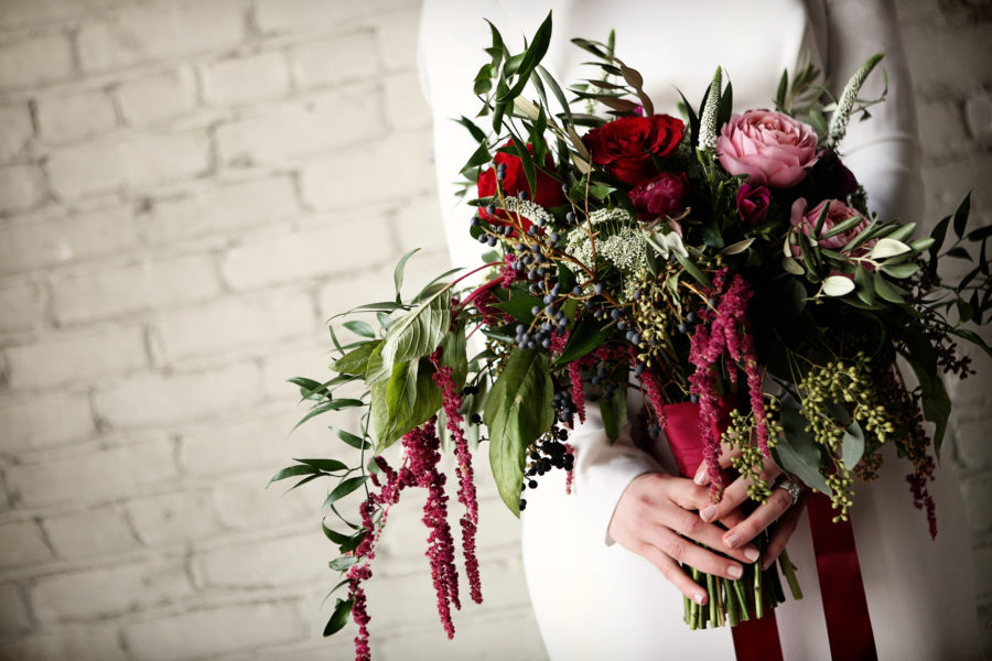 burgundy blush bouquet with greenery trailing ribbons